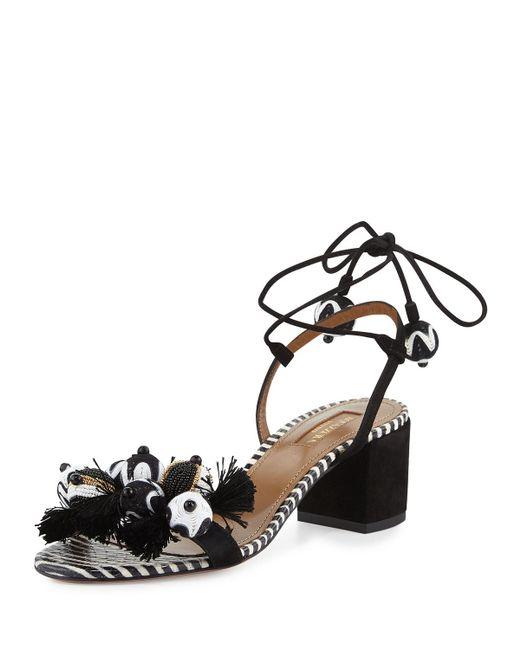Aquazzura   Black 'tropicana' Sandals   Lyst