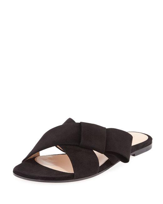 Gianvito Rossi - Black Flat Suede Ribbon Slide Sandal - Lyst