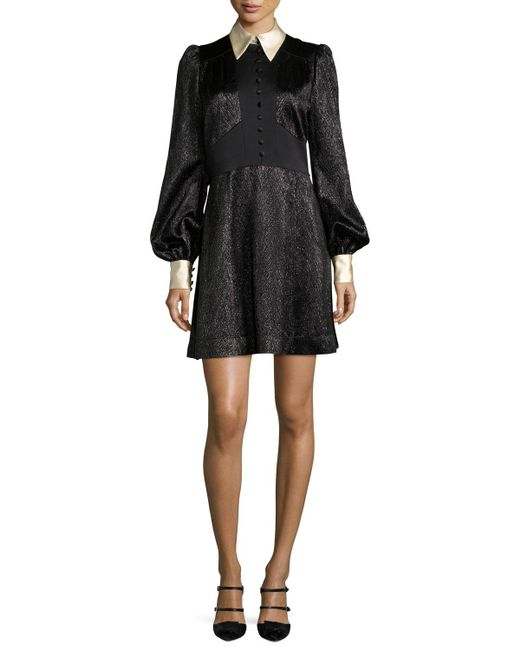 Marc Jacobs | Black Collared Metallic Chevron Charmeuse Dress | Lyst