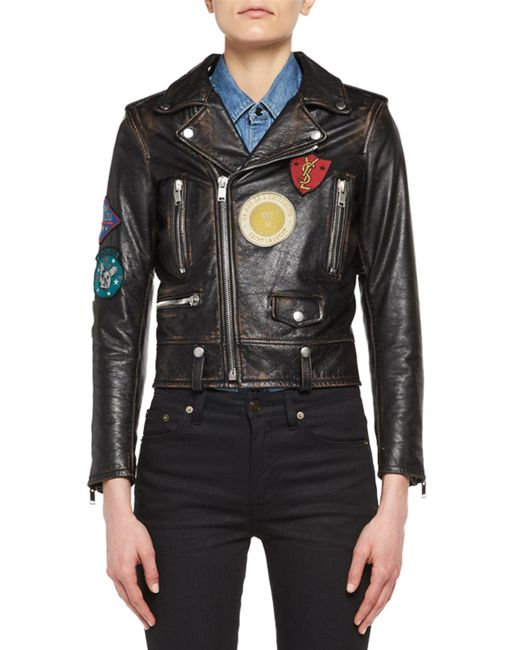 Saint Laurent - Black Leather Moto Jacket With Patches for Men - Lyst