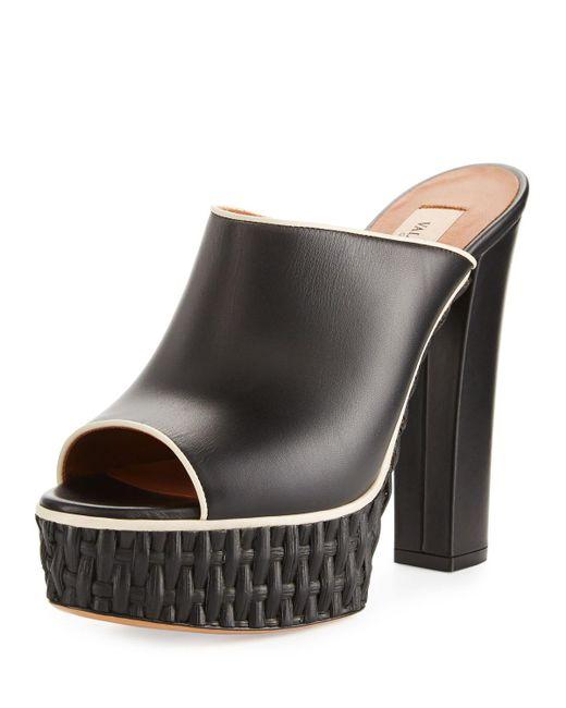 Valentino   Black Woven Platform Mule Pump   Lyst