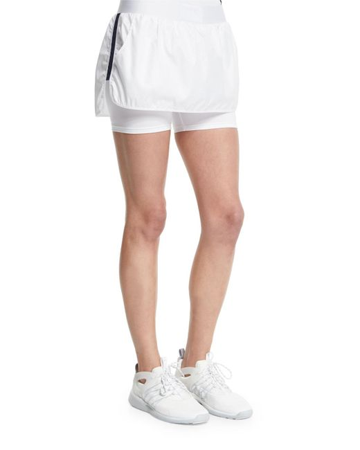 Heroine Sport - White Striped Stretch-Crepe Skort - Lyst