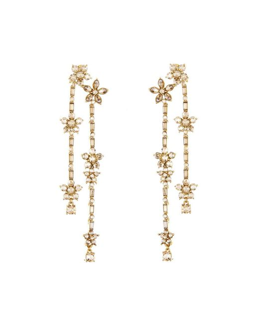 Oscar de la Renta - Metallic Floral Crystal Drop Earrings - Lyst