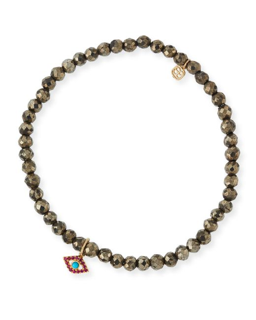 Sydney Evan | Metallic Champagne Pyrite Beaded Bracelet With Ruby & Turquoise Evil Eye Charm | Lyst