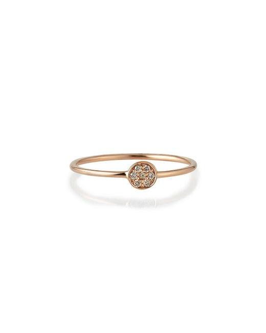 Sydney Evan - Metallic Tiny Pave Diamond Disc Ring - Lyst