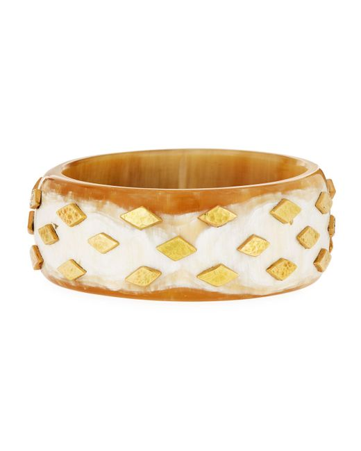 Ashley Pittman | Metallic Mila Studded Light Horn Bangle | Lyst