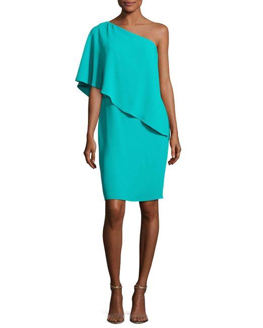 Carmen Marc Valvo | Blue One-shoulder Asymmetric Popover Cocktail Dress | Lyst