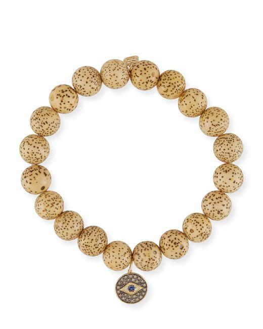 Sydney Evan - Multicolor Lotus Seed Beaded Bracelet W/ 14k Diamond Evil Eye Charm - Lyst