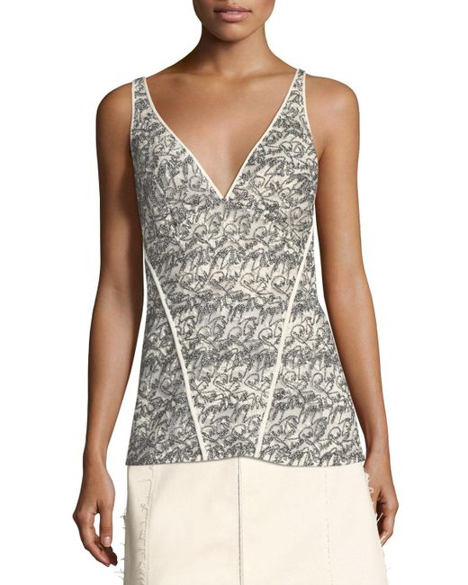 Derek Lam - White Lace V-neck Cami Top - Lyst
