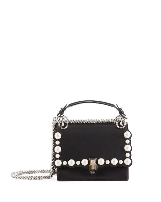 Fendi - Black Kan I Small Pearly-studded Leather Shoulder Bag - Lyst