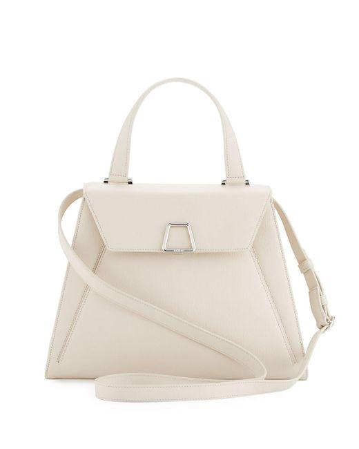 Akris | White Alba Framed Saffiano Top Handle Bag | Lyst