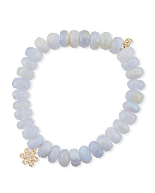 Sydney Evan | Anniversary 8mm Blue Chalcedony Bracelet With Diamond Daisy Charm | Lyst