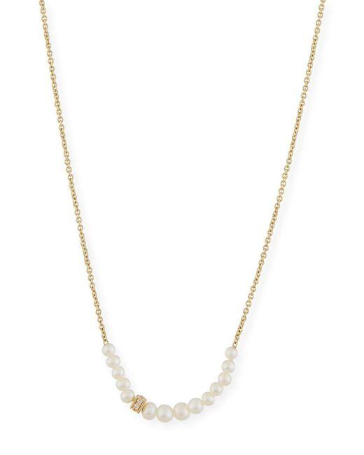 Sydney Evan   Metallic Pearl Necklace With Diamond Rondelle   Lyst
