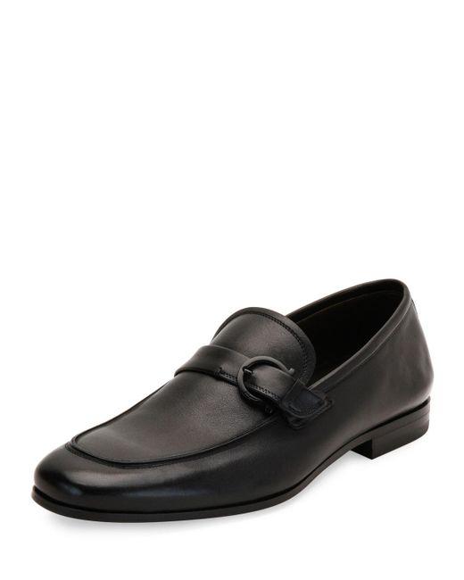 Ferragamo | Black Faruk Soft Calfskin Side-gancio Loafer for Men | Lyst