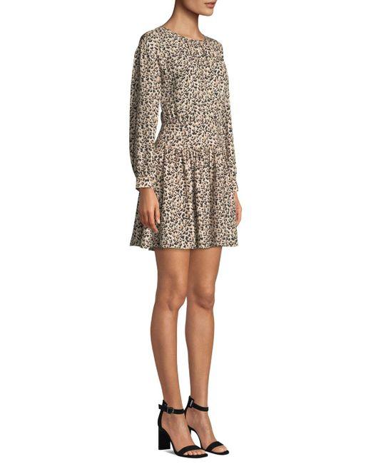 9fde73db7f7 ... Rebecca Taylor - Multicolor Long-sleeve Silk Leopard-print Short Dress  - Lyst ...