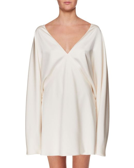 The Row - White V-neck Long-sleeve Silk Mini Dress - Lyst