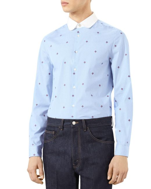Gucci - Blue Bee Fil Coupe Cambridge Shirt for Men - Lyst