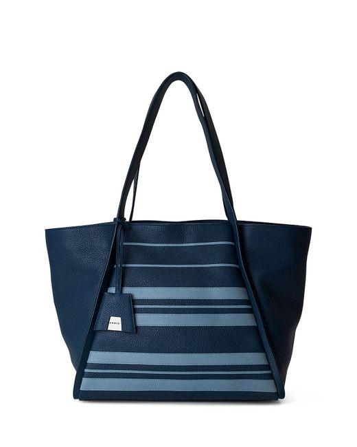 Akris | Blue Alex Medium Striped Leather Tote Bag | Lyst