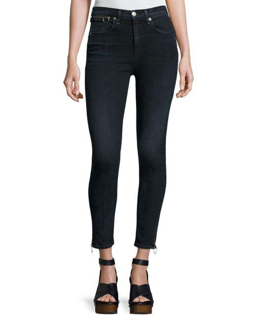 Rag & Bone - Black O-ring Dive Capri Jeans - Lyst