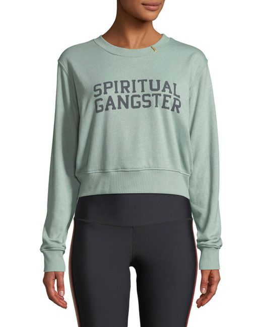 Spiritual Gangster - Green Varsity Cropped Graphic Pullover Sweatshirt - Lyst