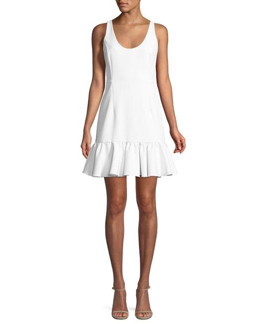 MILLY - White Geneva Sleeveless Peplum Mini Dress - Lyst