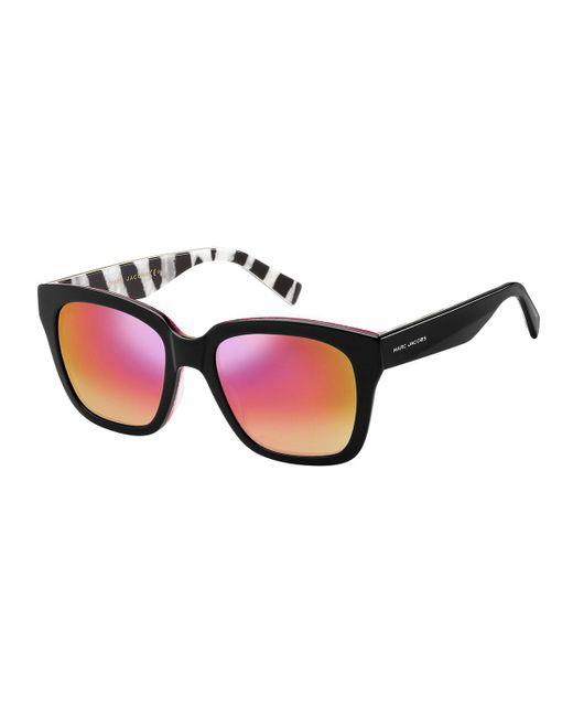 Marc Jacobs - Pink Mirrored Sunglasses W/ Zebra-print Trim - Lyst