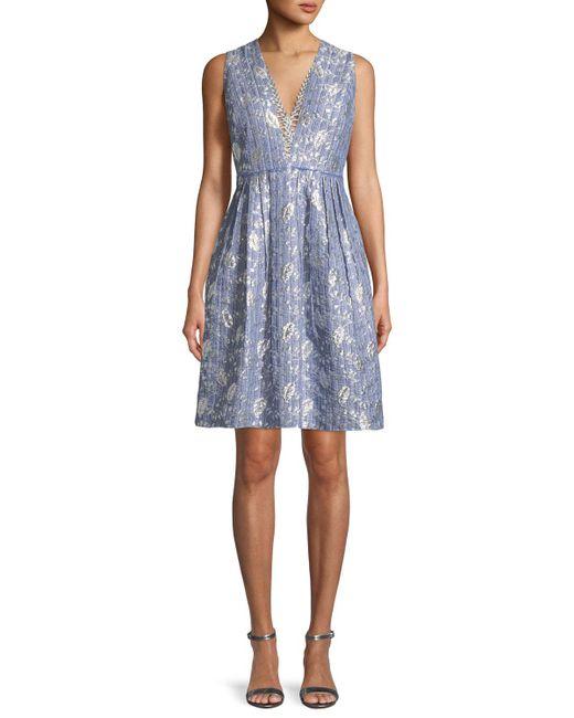 Elie Tahari - Blue Jacquelle Sleeveless V-neck Dress - Lyst