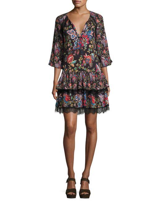 Alice + Olivia | Black Lakita Raglan Tiered Tunic Dress | Lyst