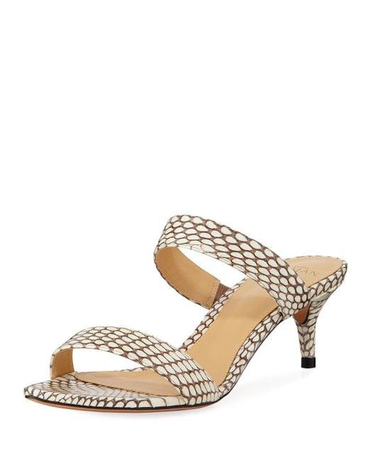 4cca619ec Alexandre Birman - Natural Leblon Snakeskin Kitten-heel Sandals - Lyst ...