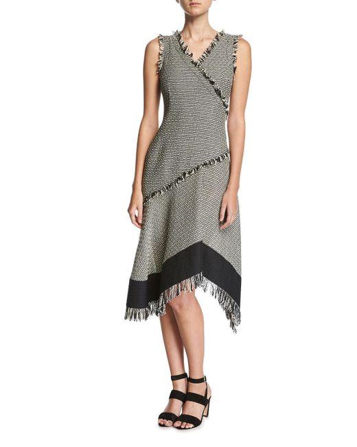 Derek Lam | Black Sleeveless Asymmetrical Dress W/ Fringe Detail | Lyst