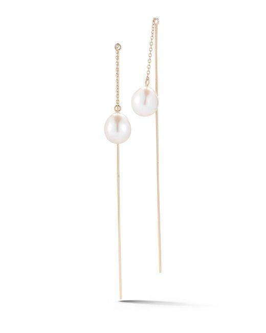 Mizuki | Metallic Thread-through Pearl Chain Drop Earrings | Lyst