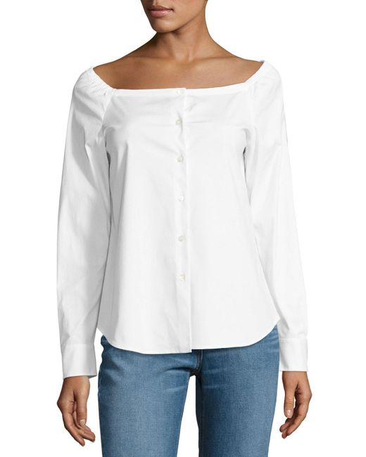 Theory   White Auriana Stretch-cotton Off-the-shoulder Top   Lyst