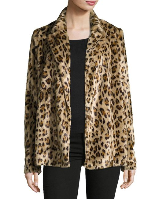 Theory | Brown Clairene Leopard Faux Fur Coat | Lyst