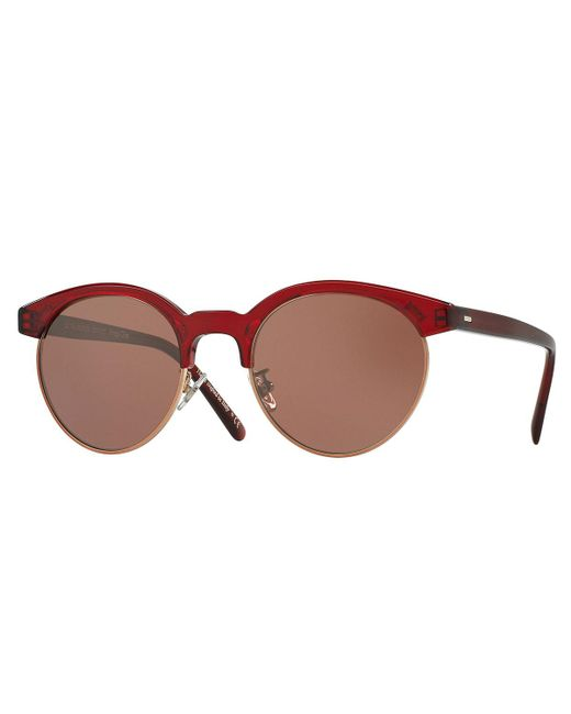 Oliver Peoples | Red Ezelle Monochromatic Semi-rimless Sunglasses | Lyst