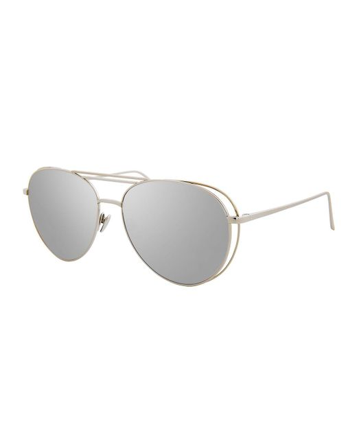 Linda Farrow - Gray Open-inset Aviator Sunglasses - Lyst