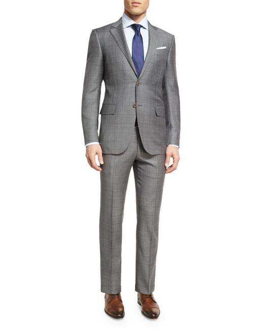 Ermenegildo Zegna - Gray Plaid Wool Two-piece Suit for Men - Lyst