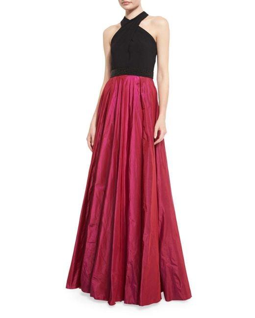Carmen Marc Valvo   Multicolor Sleeveless Beaded Jersey & Taffeta Ball Gown   Lyst