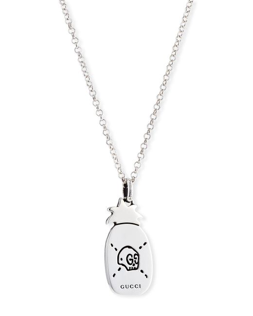 Gucci | Black Ghost Men's Sterling Silver Pineapple Necklace for Men | Lyst