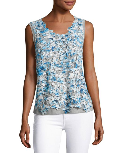 Elie Tahari | Blue Leandra Sleeveless Lace-front Blouse | Lyst