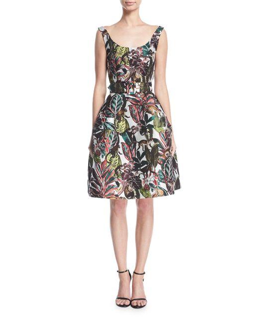 Oscar de la Renta - White Sleeveless Jungle Jacquard Dress - Lyst