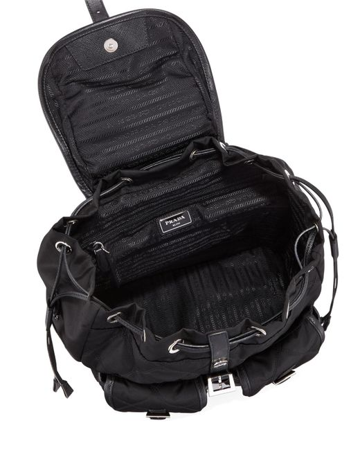 068e1fd06949 ... uk shopping prada black vela cross stitch backpack lyst bb97d b2414  3d983 c92bd