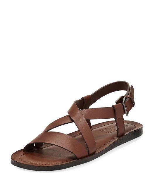 Ferragamo   Brown Nostro 2 Habana Leather Strap Sandal for Men   Lyst
