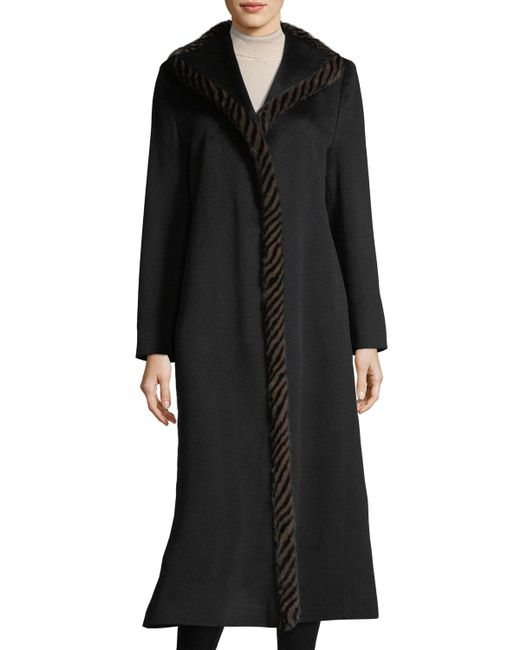 Fleurette - Black Magnetic Wool Duster Coat W/ Spiral Mink Fur - Lyst