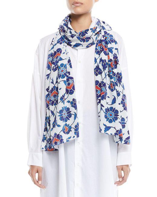Eskandar - Blue Floral-print Silk Scarf - Lyst
