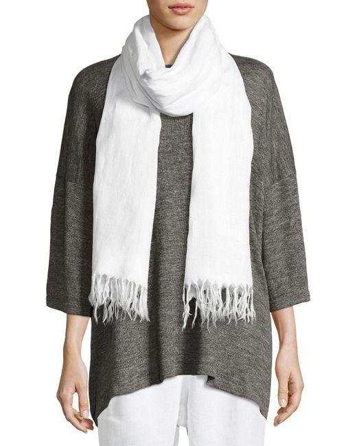 Eskandar - White Handkerchief Linen Shawl - Lyst