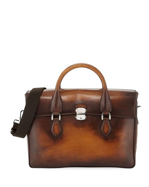 Berluti - Brown Iii Gloria Leather Briefcase for Men - Lyst