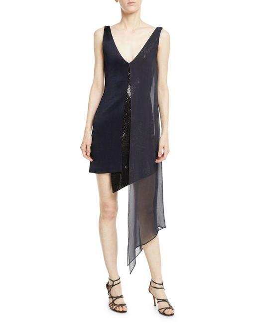 Galvan - Blue Sleeveless V-neck High-shine Jersey Cocktail Dress W/ Sequins & Chiffon Overlay - Lyst