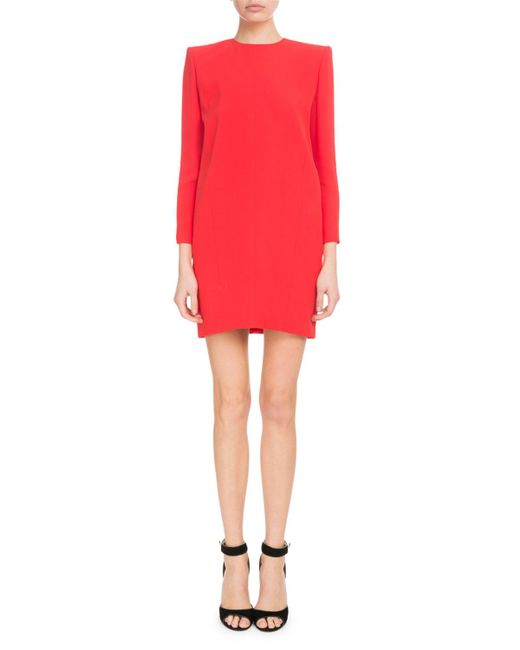 Givenchy - Red Long-sleeve Crepe Satin Cocktail Dress - Lyst