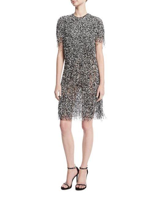 Naeem Khan | Black Fringed Short-sleeve Cocktail Dress | Lyst