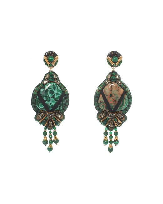 Ranjana Khan - Green Beaded Agate Drop Clip-on Earrings - Lyst